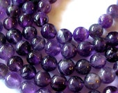 Amethyst Beads, Genuine Amethyst Beads, 8mm Amethyst Beads