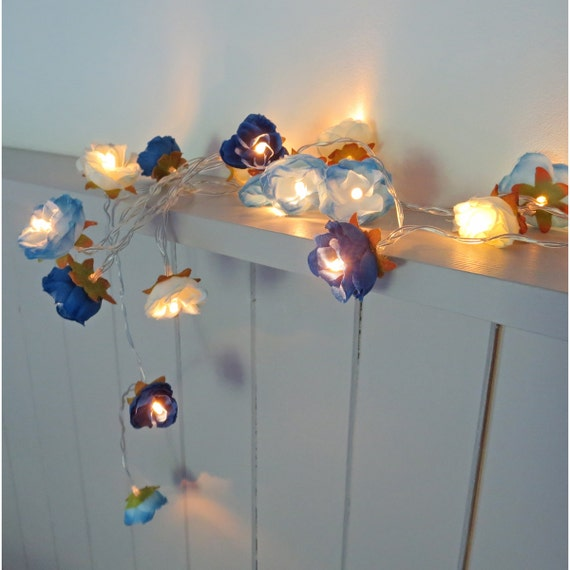 Battery Fairy Lights NEW Mixed Blue Shabby Rose String Lights