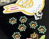 FG-EX-08003MT- Nickel Free, Raw Brass, Flower bud beadcap, mint, 12pcs