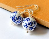 Ceramic Earrings, White Round Drops, Blue Flower, Simple Minimalist Sterling Silver Jewelry