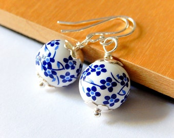 Ceramic Earrings, White Round Drops, Blue Flower, Simple Minimalist Sterling Silver Floral Porcelain Jewelry