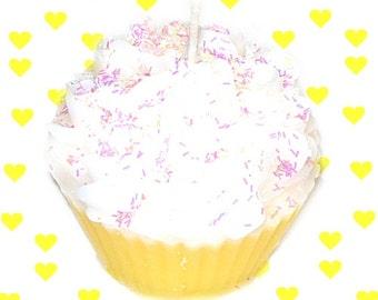 Yellow Birthday Cake Cupcake Candle Creamy Vanilla Bakery Scent