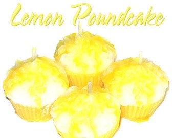 4 Lemon Pound Cake Cupcake Candle Minis Bakery Fruit Scent Votive