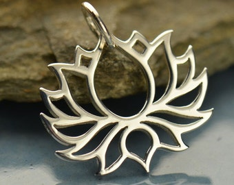 Lotus Flower Charm - Silver Lotus Necklace - Yoga Jewelry