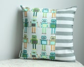 Pillow cover grey robot 14 inch 14x14 modern hipster accessory home decor nursery baby gift present zipper closure canvas ready to ship