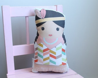 Doll Indian Native American stuffed plush girl gift first doll room decor  modern hipster toddler toexclusive cute sweet pillow by PETUNIAS