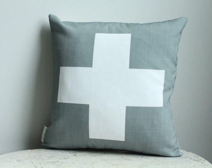 Pillow cover grey cross plus 14 inch 14x14 modern hipster accessory home decor nursery baby gift present zipper closure canvas ready to ship