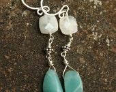 Rainbow Moonstone Earrings, Sterling Silver Gemstone Earrings, Gemstone Dangle Earrings, Blue Flash Rainbow Moonstone, Handmade Earrings
