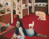 Original Collage on Paper-Vintage Interior with Girl-Llama-Cat-and More