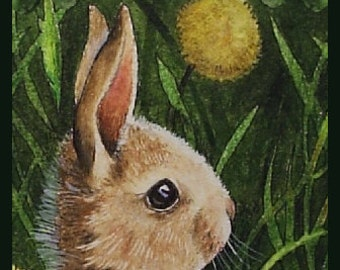 Bunny and Flowers Art Bookmark by Melody Lea Lamb