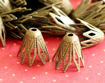 Top Quality Lead Free 100pcs 9mm Antique Bronze Filigree Bell Beads Caps KK-B518-AB