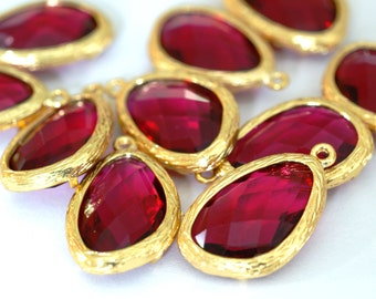 Top Quality 2pcs Ruby Glass Polished Real Gold Plated Brass Pendants GLAA