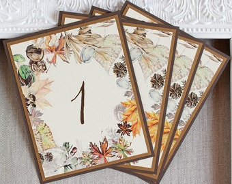 Autumn Foliage Wedding Reception Table Numbers Watercolor Fall Leaves Acorns Rustic Antique Gold