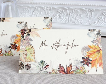 Wedding Reception Tented Escort or Place Card Autumn Foliage Watercolor Rustic Fall Leaves Acorns