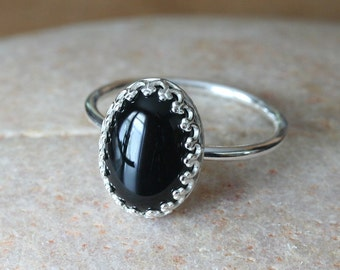 Black Onyx Ring 14x10 mm, Gallery Bezel, Sterling Silver Gemstone, Crown,Princess, Size 2 to 15, Womens Ring, Onyx Jewelry, Stacking Ring