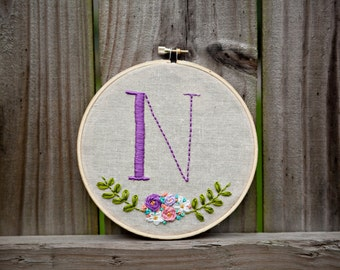 Custom Initial Embroidery Hoop Art - 6 inch