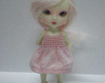 Realpuki Crochet and Fabric Dress in Pink