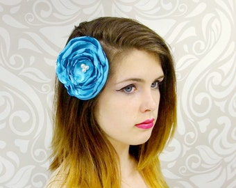 SALE, Bridal Hair, Aqua Blue Satin Flower Hair Clip, Satin Flower Hair Clip, Ocean Blue Flower Clip,