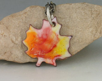 Copper Enameled Pendant, Enameled Maple Leaf, Enameled Copper Pendant Necklace