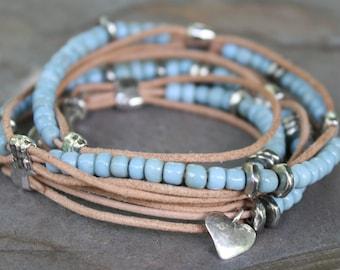 Triple Wrap Leather Bracelet Blue Padre