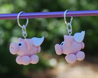 When Pigs Fly knitting or crochet stitch markers - Polymer Clay