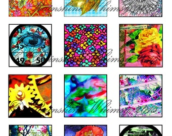 Instant Download Flowers Gears Abstract Twinchie Sheet 2 x 2 Collage Images Printable Digital Collage Sheet Unique Backgrounds