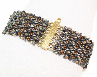 Midnight Fire Beadwoven Cuff Bracelet