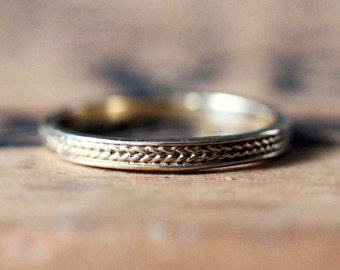 Braided wedding band, braided ring, textured ring, yellow gold wedding band women, 2mm gold band, recycled gold ring, 14k gold ring, custom