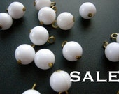 LAST Set - Vintage Japanese White Plastic Beaded Charms (72X) (B536) S A L E - 66% off