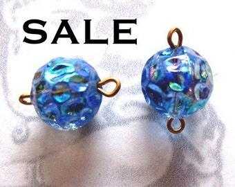 Vintage Japanese Wrinkled Blue Glass Connector Beads With Aurora Borealis (12X) (B579) SALE - 25% off