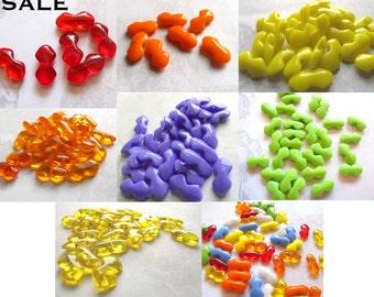 Vintage West German Bow Glass Beads - You Choose (60X) (B532) SALE - 50% off