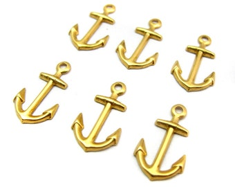 Small Brass Anchor Charms (16X) (M591)