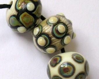 Handmade Ivory and Raku Lampwork Beads SRA