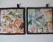 Fabric Potholders - Birds