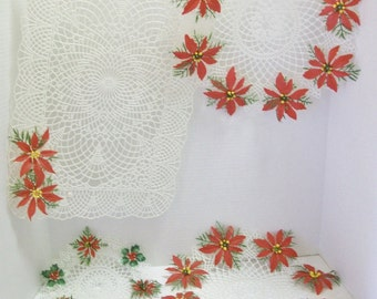 Plastic Christmas Doilies | Two Retro Doilies And One Placemat With Red Poinsettias