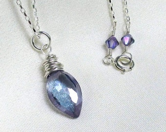 Violet Blue Mystic Quartz Necklace, Sterling Silver Wrapped Marquis Pendant, Swarovski Tanzanite Crystals, Delicate Gemstone Jewelry