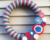 Patriotic Wreath - 4th of July Wreath - July 4th Wreath - Red, White & Blue Wreath - Independence Day Wreath - Felt Wreath -Primitive Wreath
