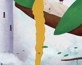 Rapunzel  - art print A4 size