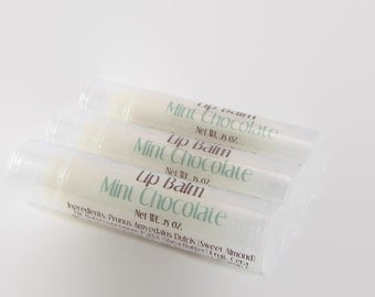 Mint Chocolate Lip Balm with Peppermint Essential Oil - Shea Butter, Sweet Almond Oil, Beeswax - Moisturizing - Chocolate Mint Flavored