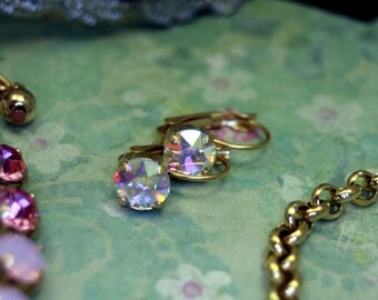 Spellbound Swarovski Elements Tennis Earrings Rhinestone 8mm Gold Pink Bracelet Necklace Set