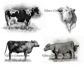 Cow Art, COWS Clipart, Hand Drawn Clipart, Realism Cow Drawings, Four Pencil Drawings, Holstein Cow, Beef Cows, Instant Download