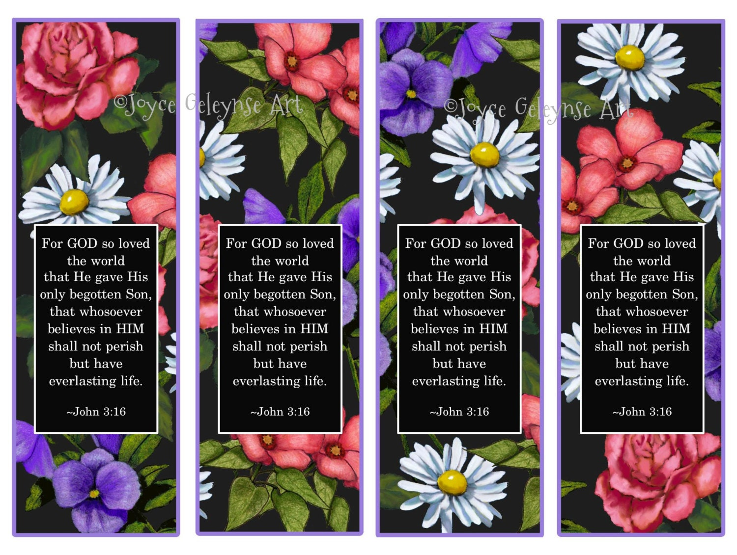 Printable Bookmarks John 3:16 Flowers on Black Background