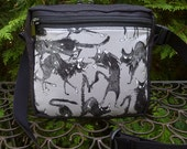 Black cat fanny pack, vendor bag, waist pack, Sebastian Ghastlie, The Gopher