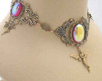 Fairy Queen Renaissance Choker Necklace - Goldtone / Ruby - Morgaine - RARE