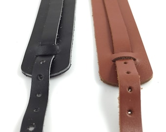 Set of 2 Adjustable Leather Cuff with Buckle Use with Slide Beads Black and Brown