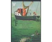 Fishing Childrens Vintage Illustration Notebook