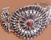 Sale: Navajo Red Coral Cluster and Sterling Silver Cuff Bracelet