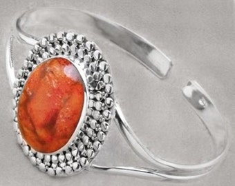 Sale: Sponge Coral and Sterling Silver Cuff Bracelet