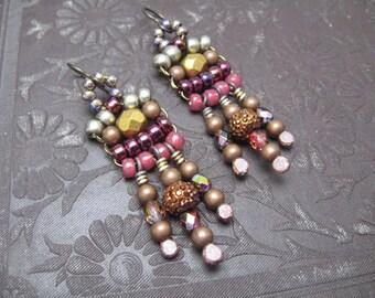 Tribal Bliss. Bohemian Bliss Beaded Earrings. Woven Beaded Earrings. Earthy Eco Friendly Earrings