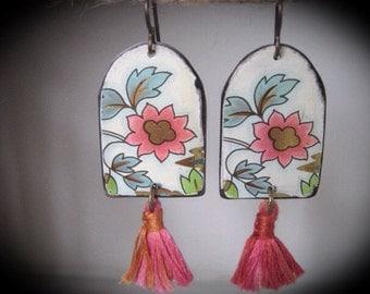 Tin Earrings. Vintage Tin. Dangle Earrings. Tassel Earrings. Bohemian Tassel Earrings